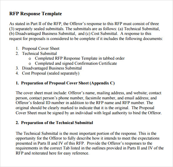 Sample Rfp Response Template - 8+ Free Documents In Pdf