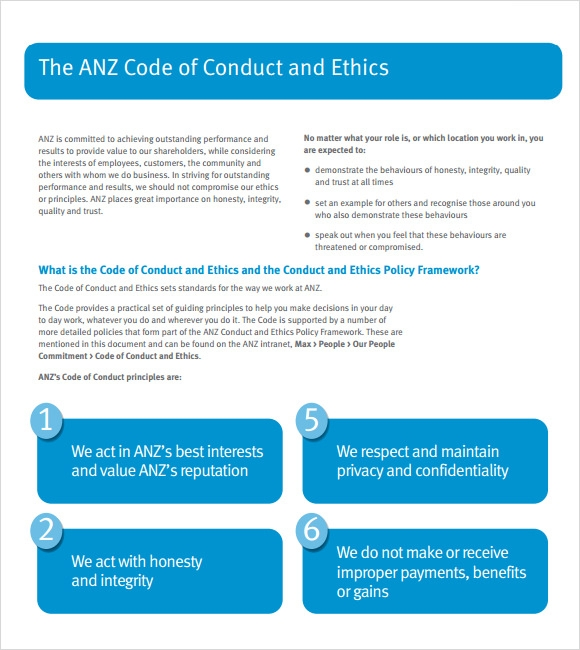 code of conduct example format