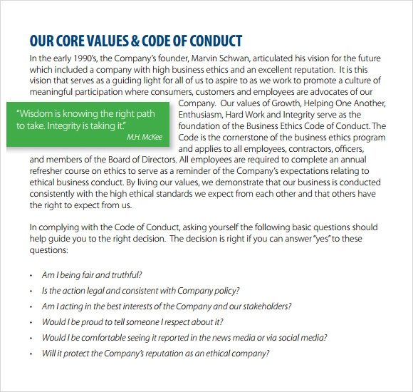 company code of conduct example