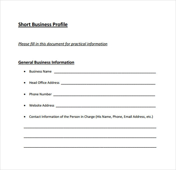 Business Profile Template Bank Profile Use Only Business Profile