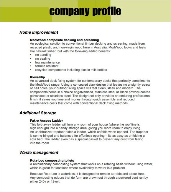 sample company profile template .