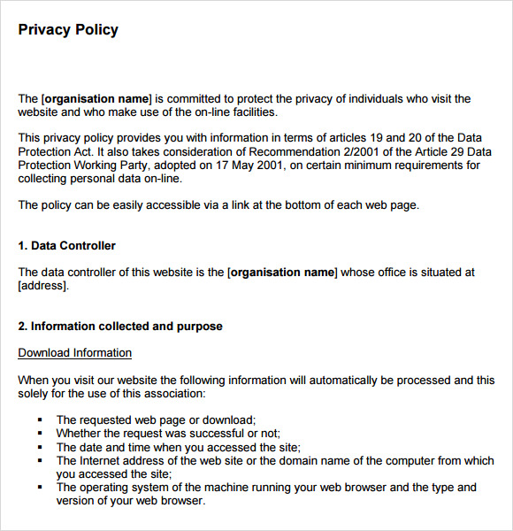 Sample privacy policy sample 9 free documents in pdf for Ecommerce privacy policy template