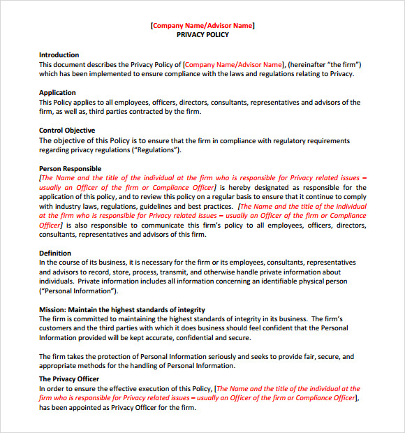 Sample privacy policy sample 9 free documents in pdf for Corporate privacy policy template