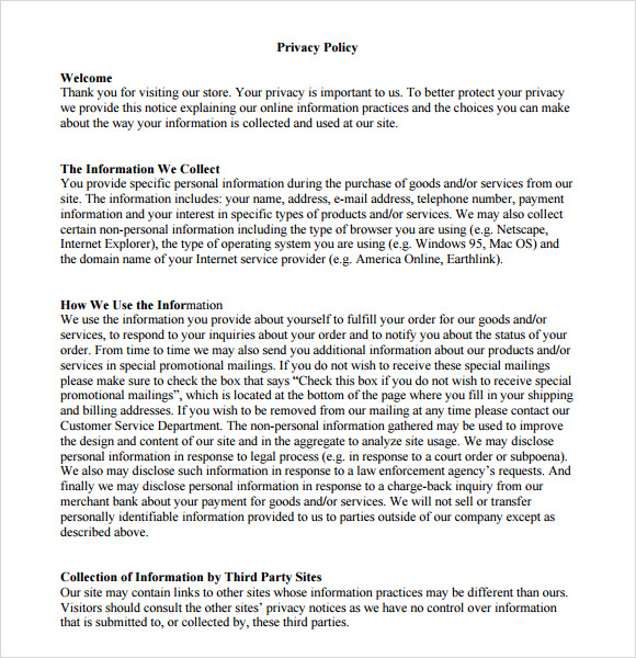privacy policy template australia free - 8 privacy policy sample templates for free download