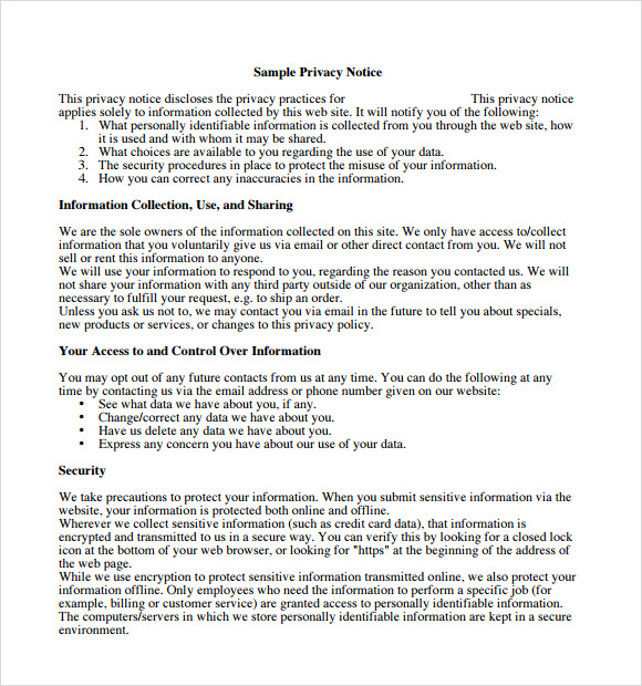 Sample Privacy Policy Sample   Free Documents In Pdf