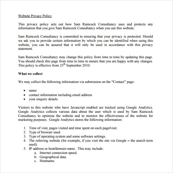 sample privacy policy template download