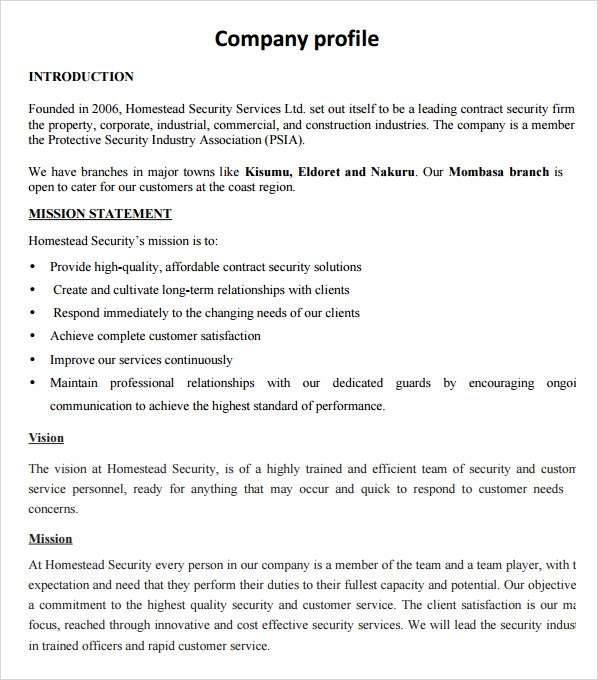 Great Company Profile Sample Design  Firm Profile Format