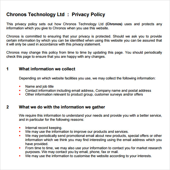 generic privacy policy template - 8 privacy policy sample templates for free download