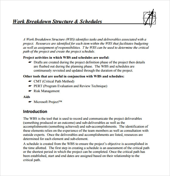 Sample Work Breakdown Structure Sample 7 Free Documents