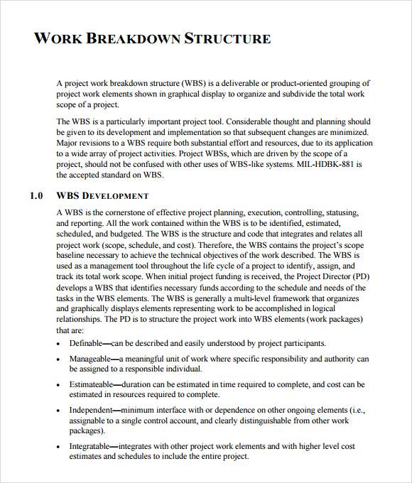 work breakdown structure pdf