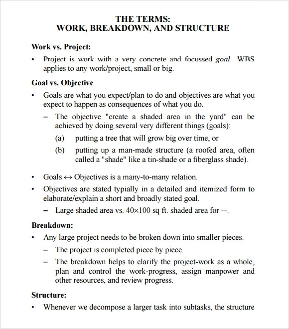 work breakdown structure format