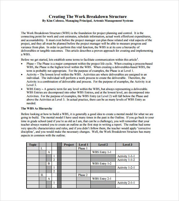 7  work breakdown structure samples