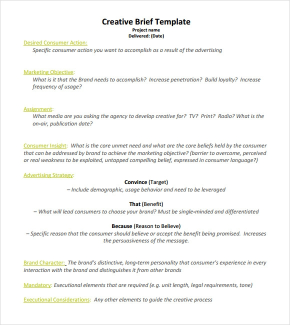 Creative Brief Template   8  Download Documents In PDF Word Sample AgfOzQ4k