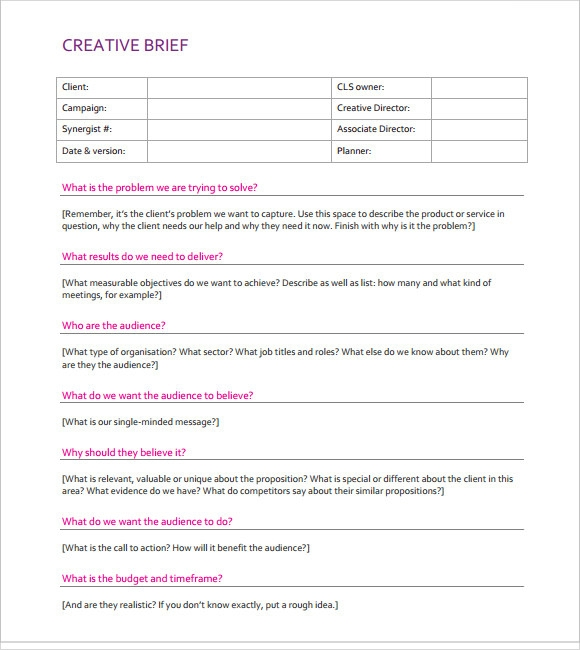 Creative brief template 8 download documents in pdf for Copy brief template