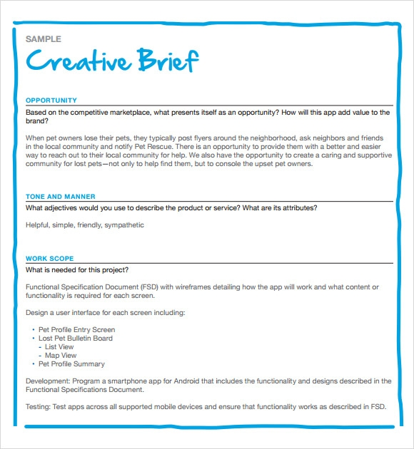 Sample Creative Brief   Free Documents In Pdf Word