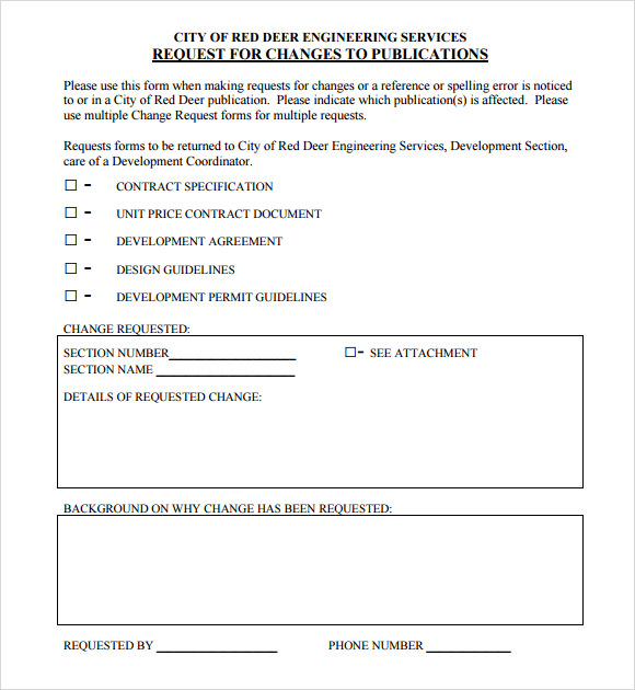 Sample Change Request 7 Documents in PDF Word – Change Request Template