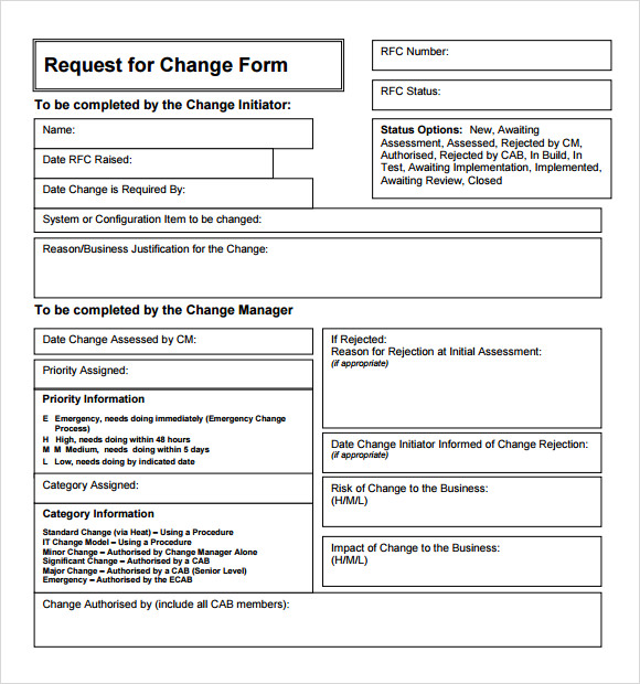 Sample change request template 9 free documents in pdf for Itil release management plan template