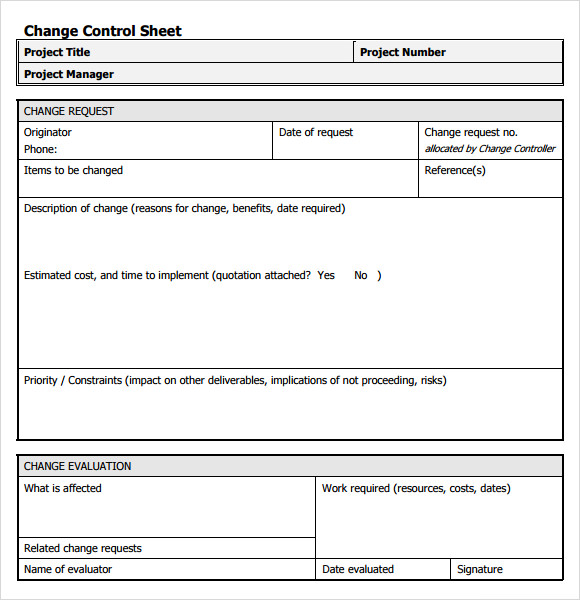 project management change request template
