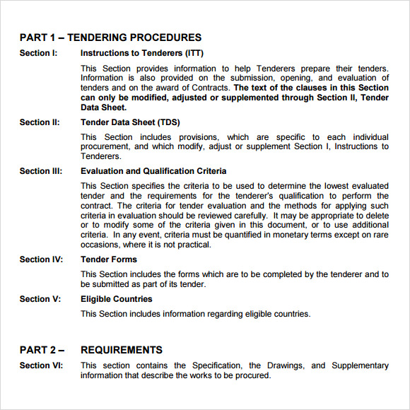 7 sample tender documents pdf sample templates for Tender specification template