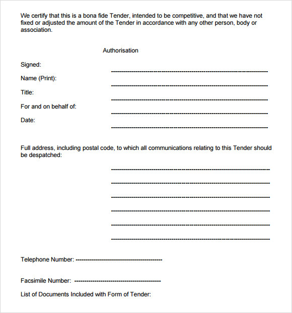 Tender document template.