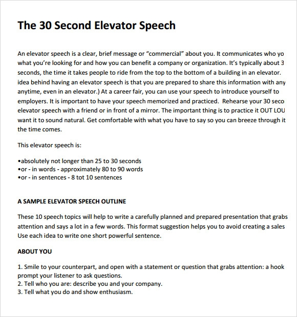 Sample Elevator Pitch Example   Documents In Word Pdf