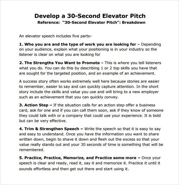 30 second pitch template - sample elevator pitch example 6 documents in pdf