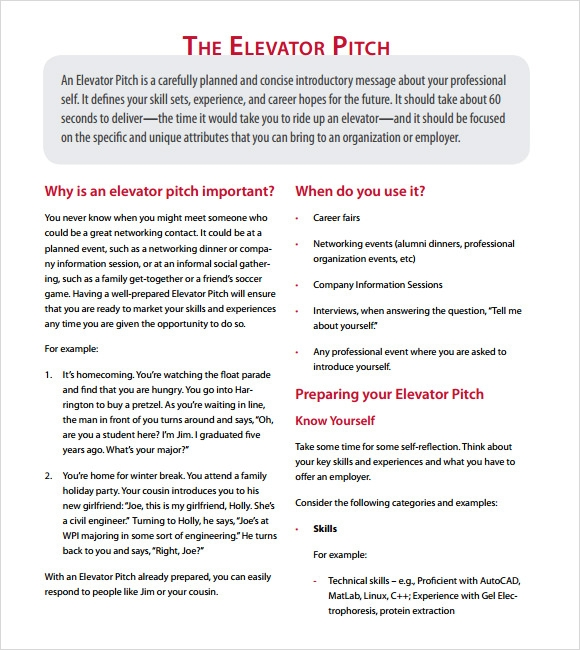 Sample elevator pitch example 6 documents in pdf for 30 second pitch template