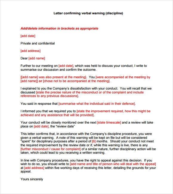 verbal warning template letter