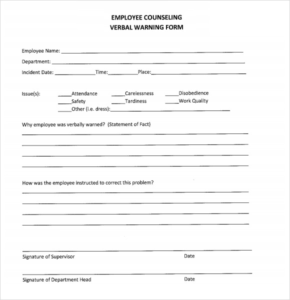 Sample Verbal Warning Template 5 Documents in PDF – Employee Counseling Form