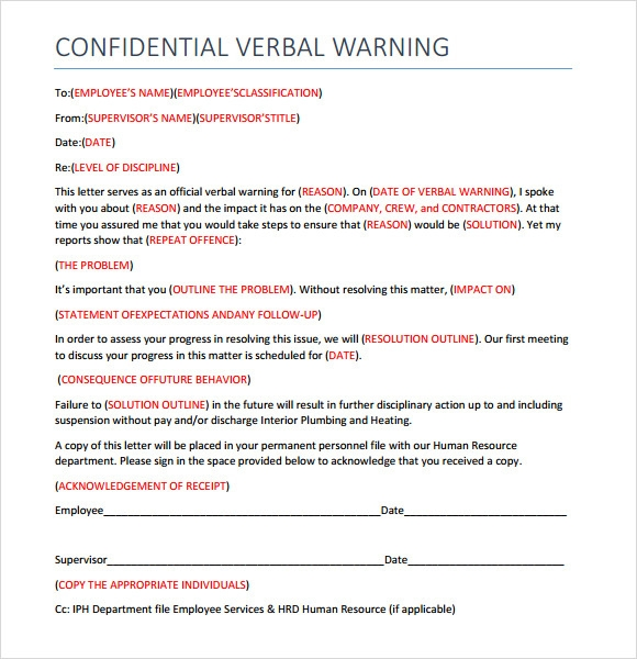 Sample Verbal Warning Template - 5+ Documents in PDF