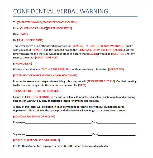 sample verbal warning template