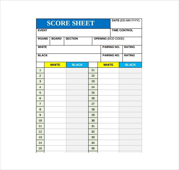 Sample Chess Score Sheet   Documents In Pdf