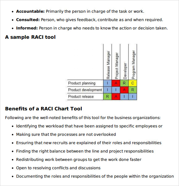 Sample Raci Matrix Template - Organizational chart with responsibilities template