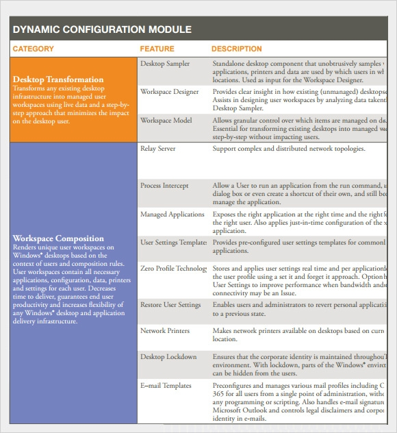 Sample Comparison Chart   Documents In Pdf