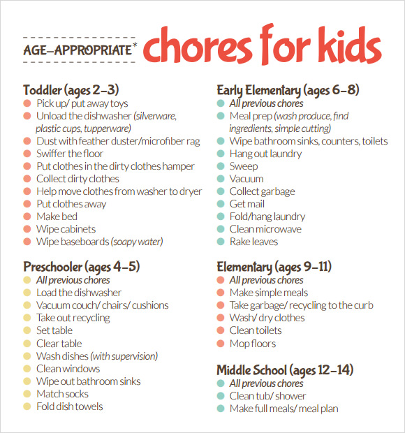 image relating to Printable Chore Charts for Multiple Children known as Pattern Youngsters Chore Chart Template - 8+ Free of charge Information in just PDF