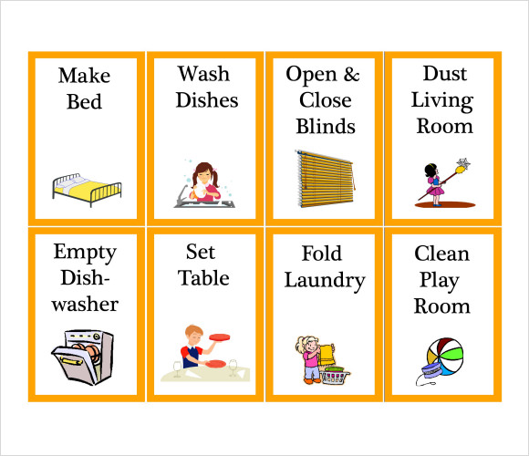Kids Chore Chart Template - 8+ Download Free Documents in PDF , Word