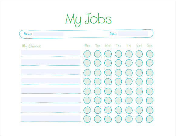 Sample Kids Chore Chart Template 8 Free Documents in PDF Word – Chore List Template
