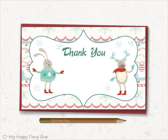 printable christmas thank you card