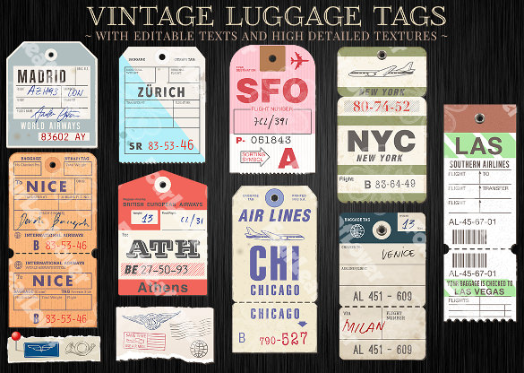 dazzling luggage tag template