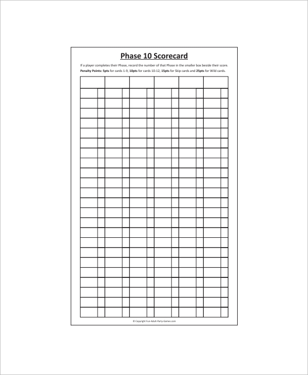 Sample Phase 10 Score Sheet - 5+ Free Documents Download In Pdf