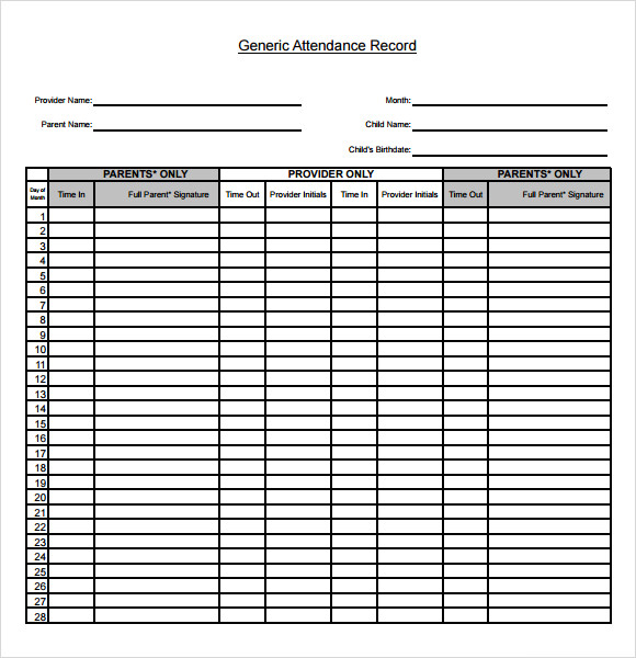 Sample Attendance Chart 7 Documents in Word Excel PDF – Printable Attendance Sheet for Teachers