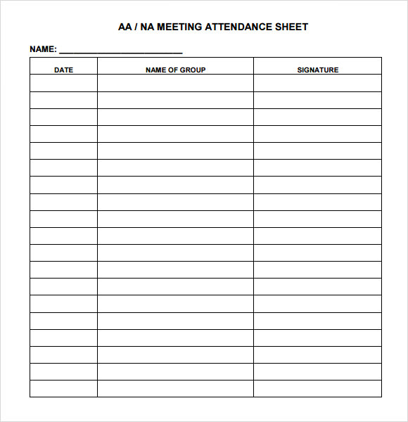 Attendance Chart Template Pdf  Printable Attendance Sheet For Teachers
