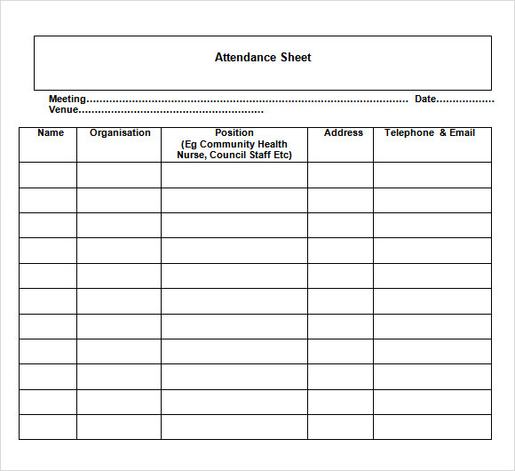 Sample Attendance Chart   Documents In Word Excel Pdf