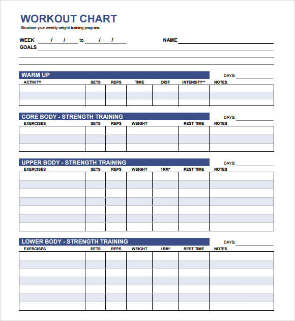 workout plan template pdf - workout chart 9 download free documents in pdf