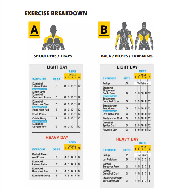 Sample Workout Chart   Documents In Pdf