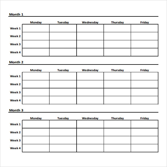 Weekly Workout Chart Template