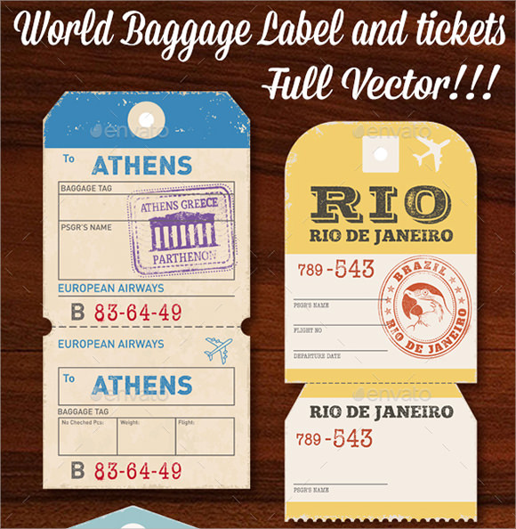 photograph relating to Free Printable Luggage Tags titled Pattern Bags Tag Template - 28+ Totally free Information inside PDF , PSD