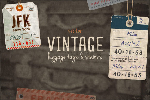 vintage luggage tag template