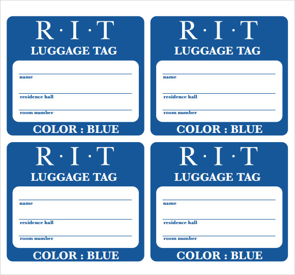 picture regarding Luggage Tags Printable referred to as Pattern Baggage Tag Template - 28+ Absolutely free Files inside PDF , PSD