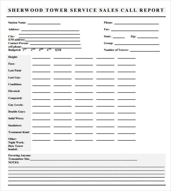 sample sales call report template